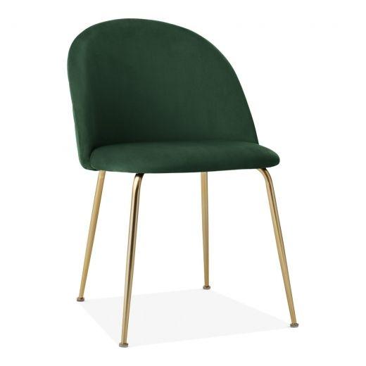 Photo of Heather Dining Chair, Velvet Upholstered, Forest Green