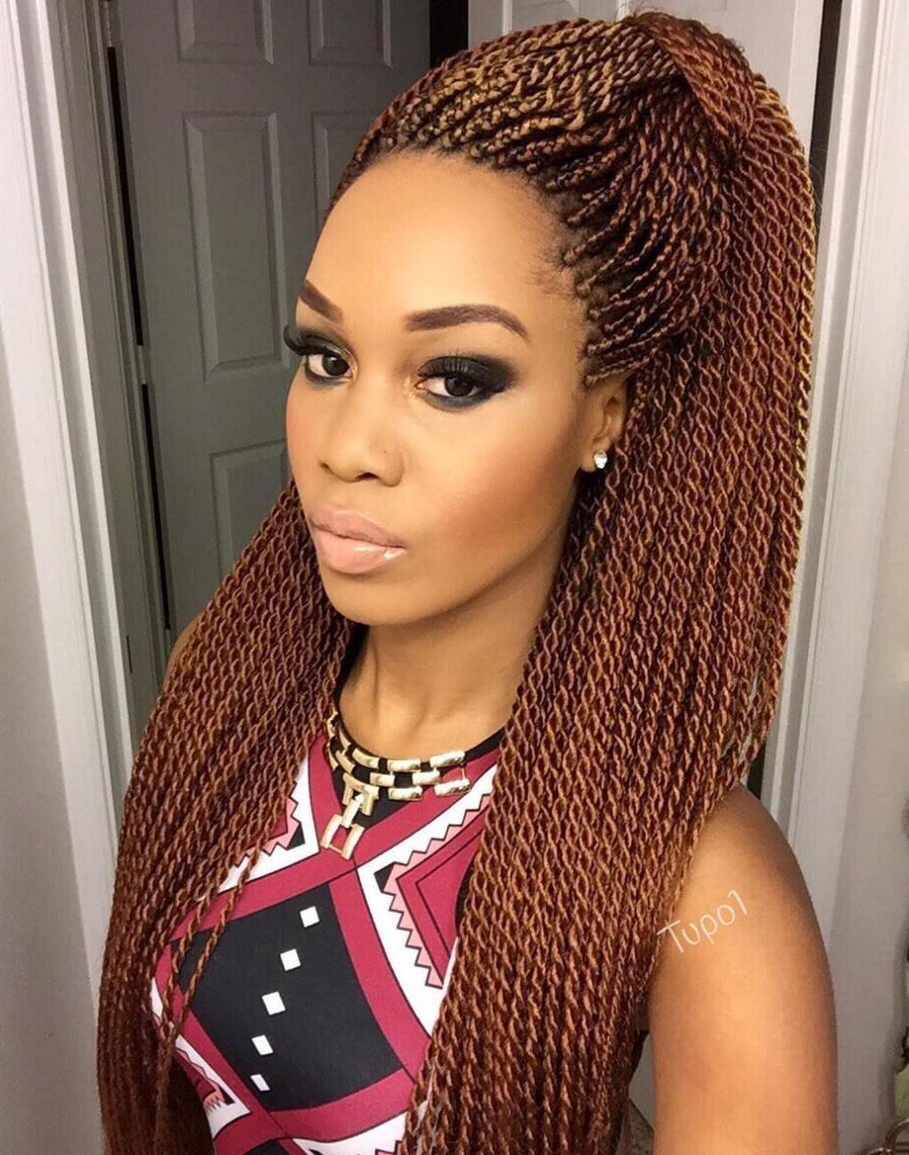 Long Caramel Brown Micro Twists Twist Braid Hairstyles