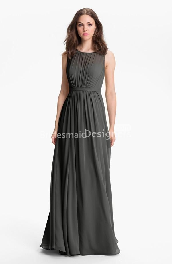 blush or mint) chiffon crew neck sleeveless floor length a-line ...