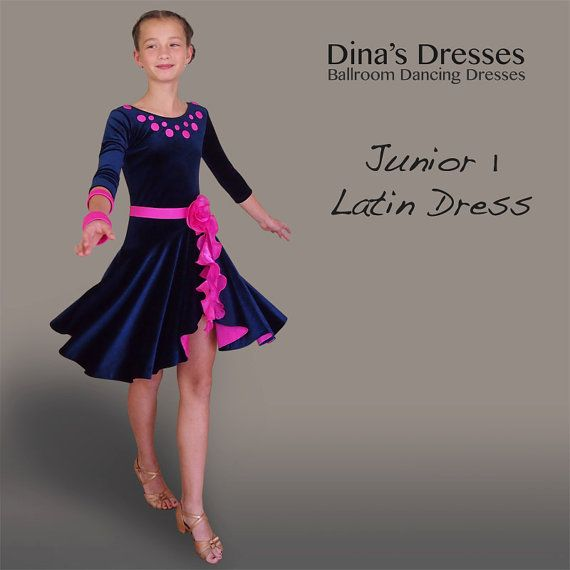 3fad4f320 Junior 1 Latin Dress for competitions. Sample SALE - Size EU 146 M Please  contact me to check your size! Full stretch velvet skirt doubled with lycra.