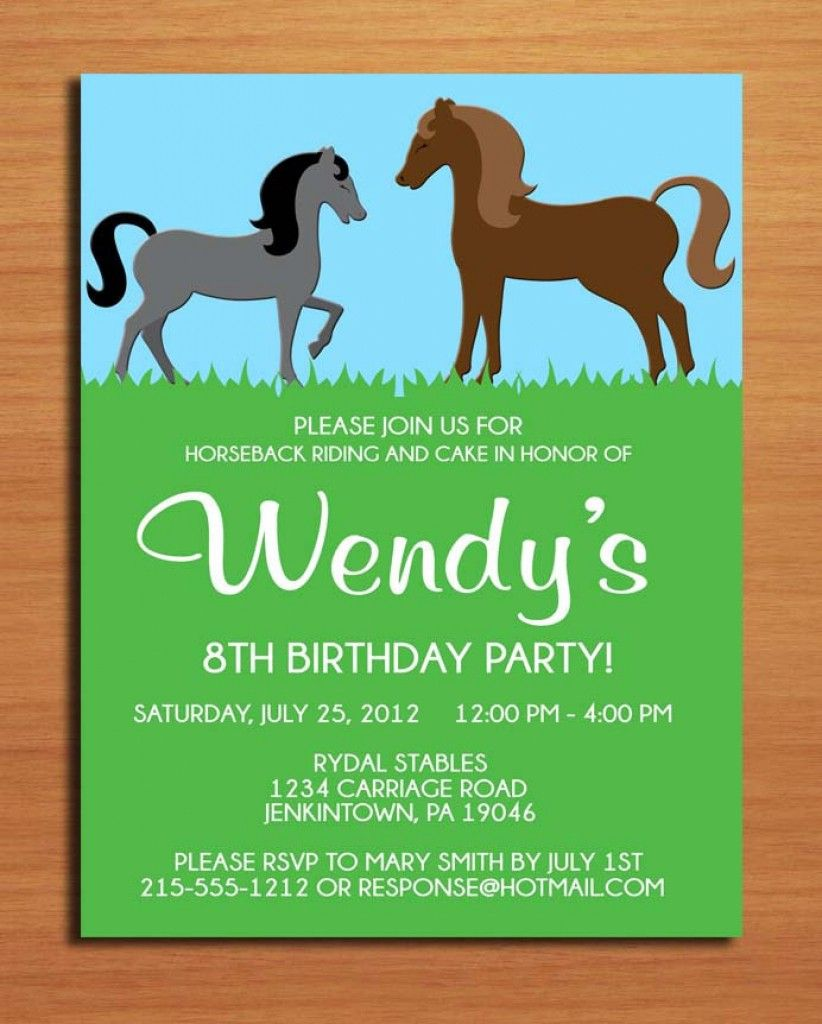 Horse Birthday Invitations Free Printable 3