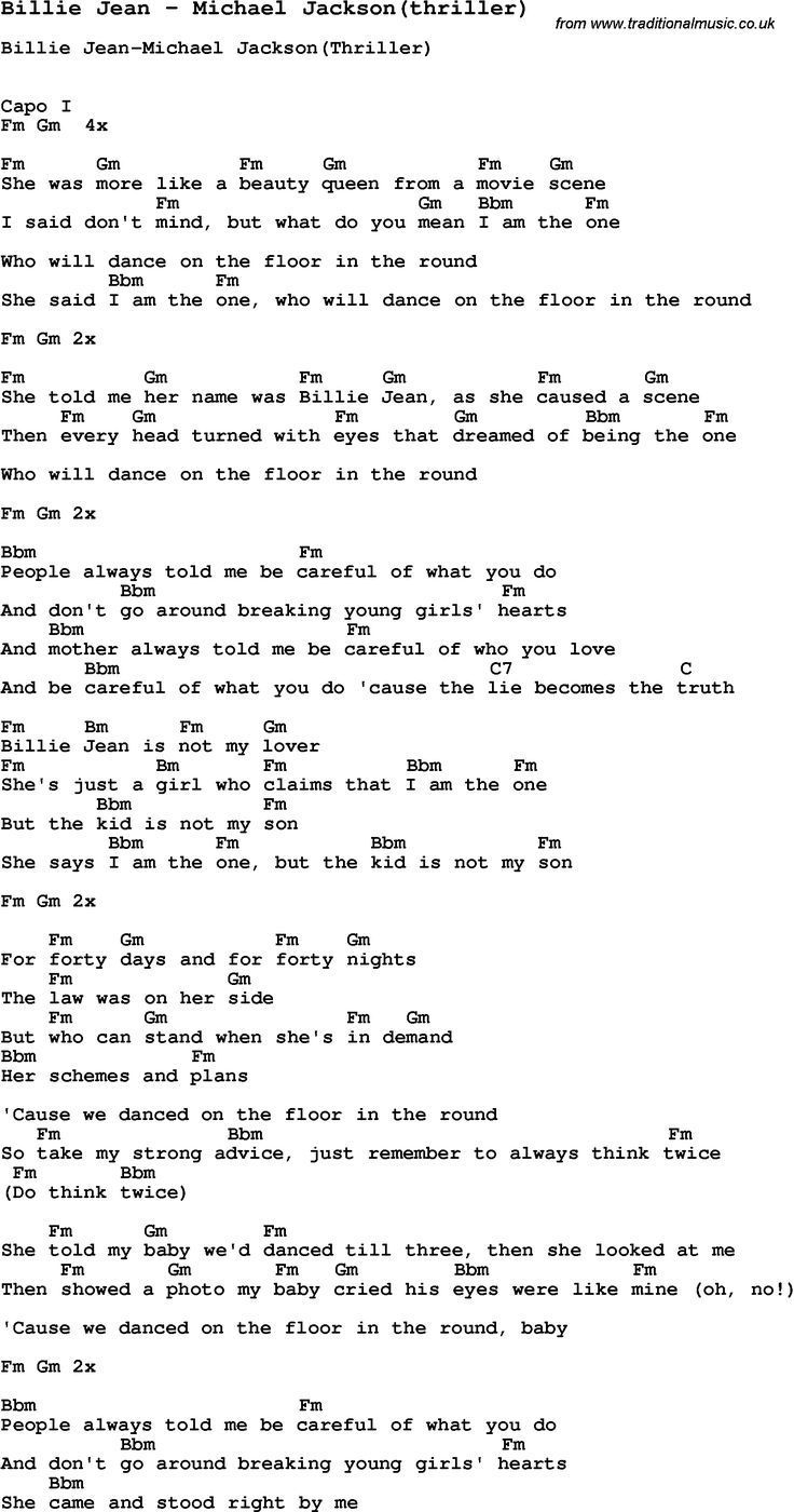 Michael Jackson Billie Jean W Guitar Chords Lyrics Capo 1st