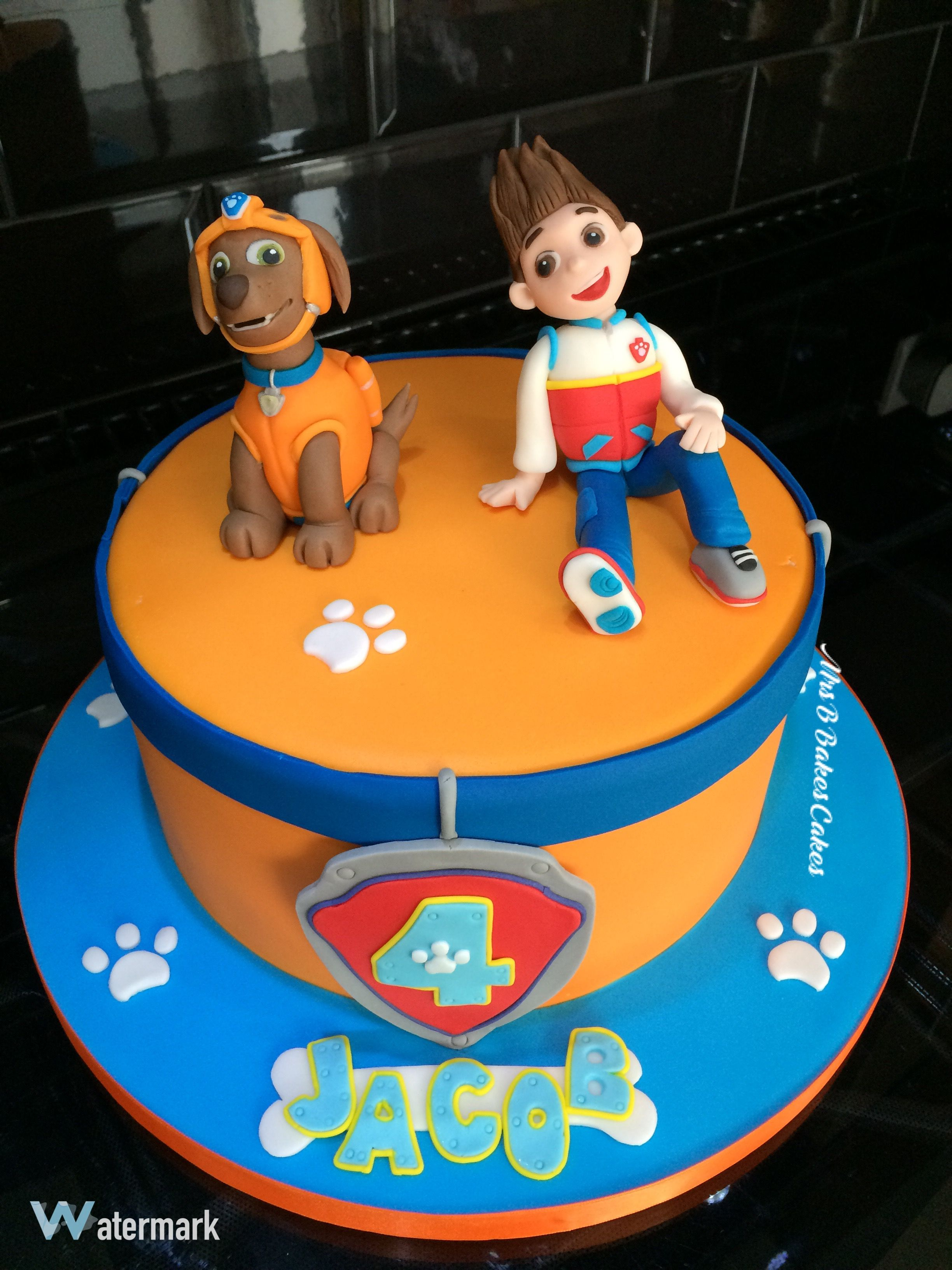 Paw Patrol Birthday Cake Zuma and Ryder with Paw Prints and Dog Collar. Entirely handcrafted sugarpaste cake toppers, chocolate cake with whipped vanillabean buttercream.  2016 made in Mrs B's Bespoke Cakes kitchen Saltaire - West Yorkshire - UK   https://mrs-bs.co.uk/ https://www.facebook.com/mrsbcakeologist/