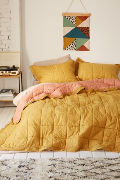 Clemente Two Toned Sham Set Yellow Bedding Aesthetic Room Decor