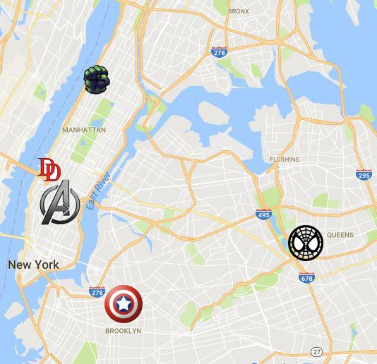 A Quick Map Of New York City Showing Events In The Mcu And Netflix
