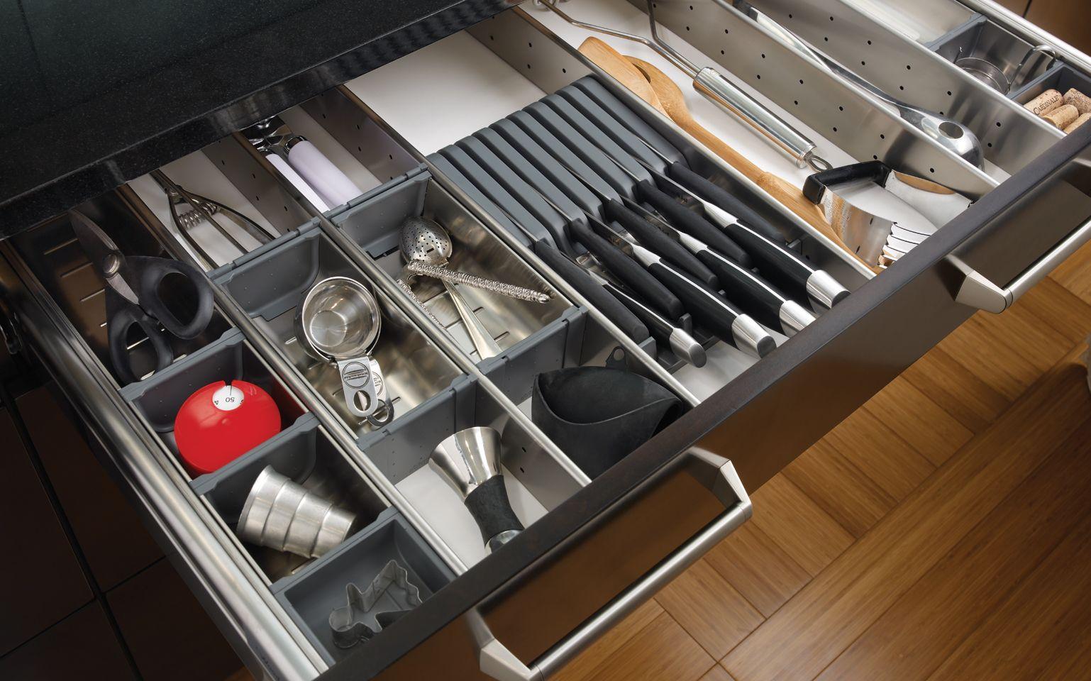 Kitchen Large Stainless Steel Drawer Organizer Wooden Floor