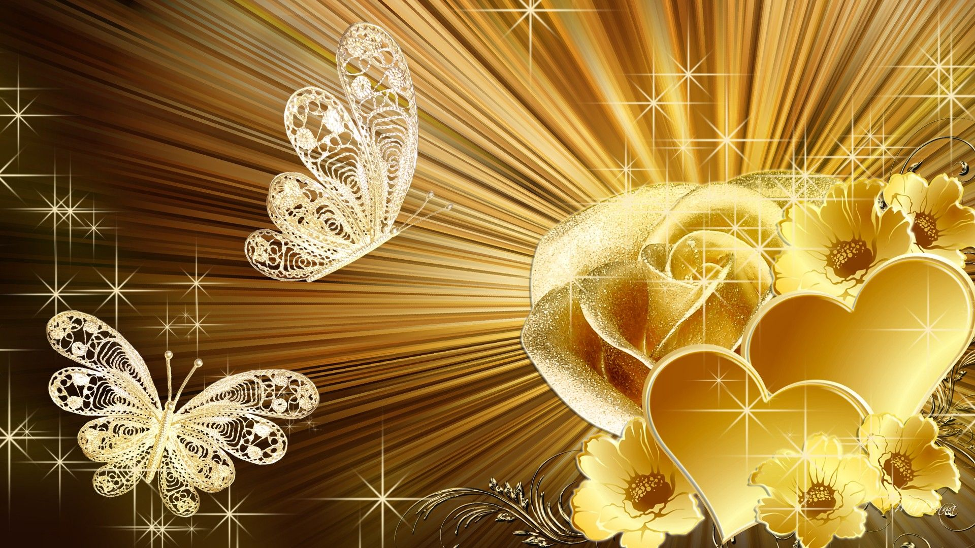 Golden Rose Hd Desktop Background Wallpaper Free In 2019
