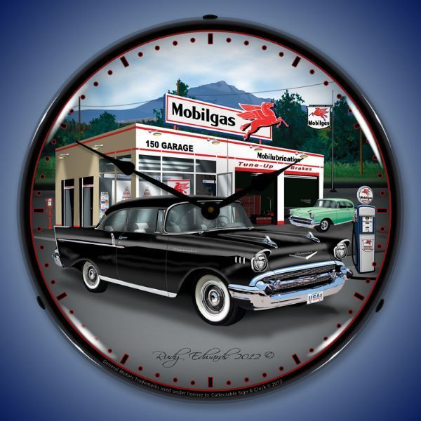 1957 Chevy Mobilgas Led Lighted Wall Clock 14 X 14 Inches Wall Clock Light Impala Custom Clocks