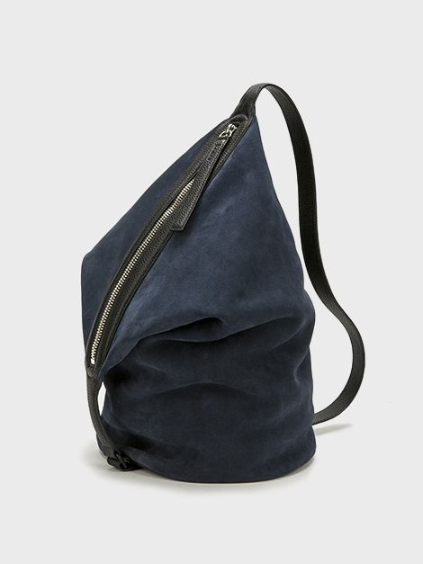 KARA | Navy Suede Small Dry Bag, navy suede with black pebble ...