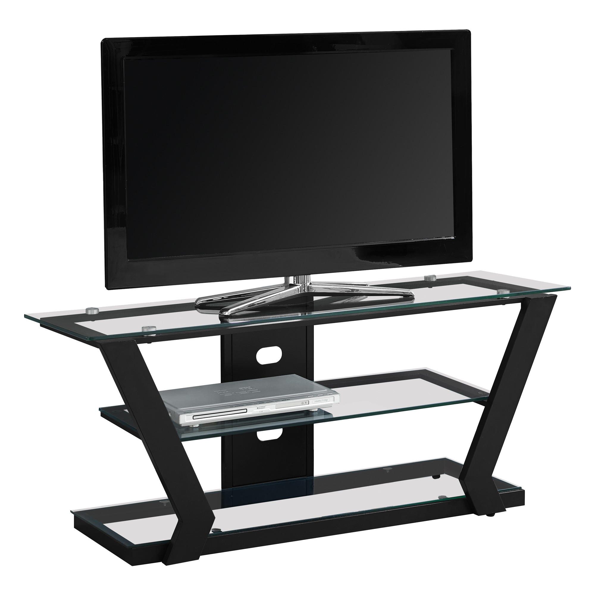 Tv Stand Black Metal Tempered Glass Everyroom Products