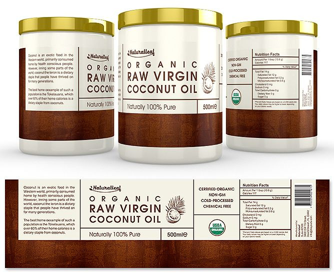 Organic Raw Virgin Coconut Oil Label Template  Creative Brochure