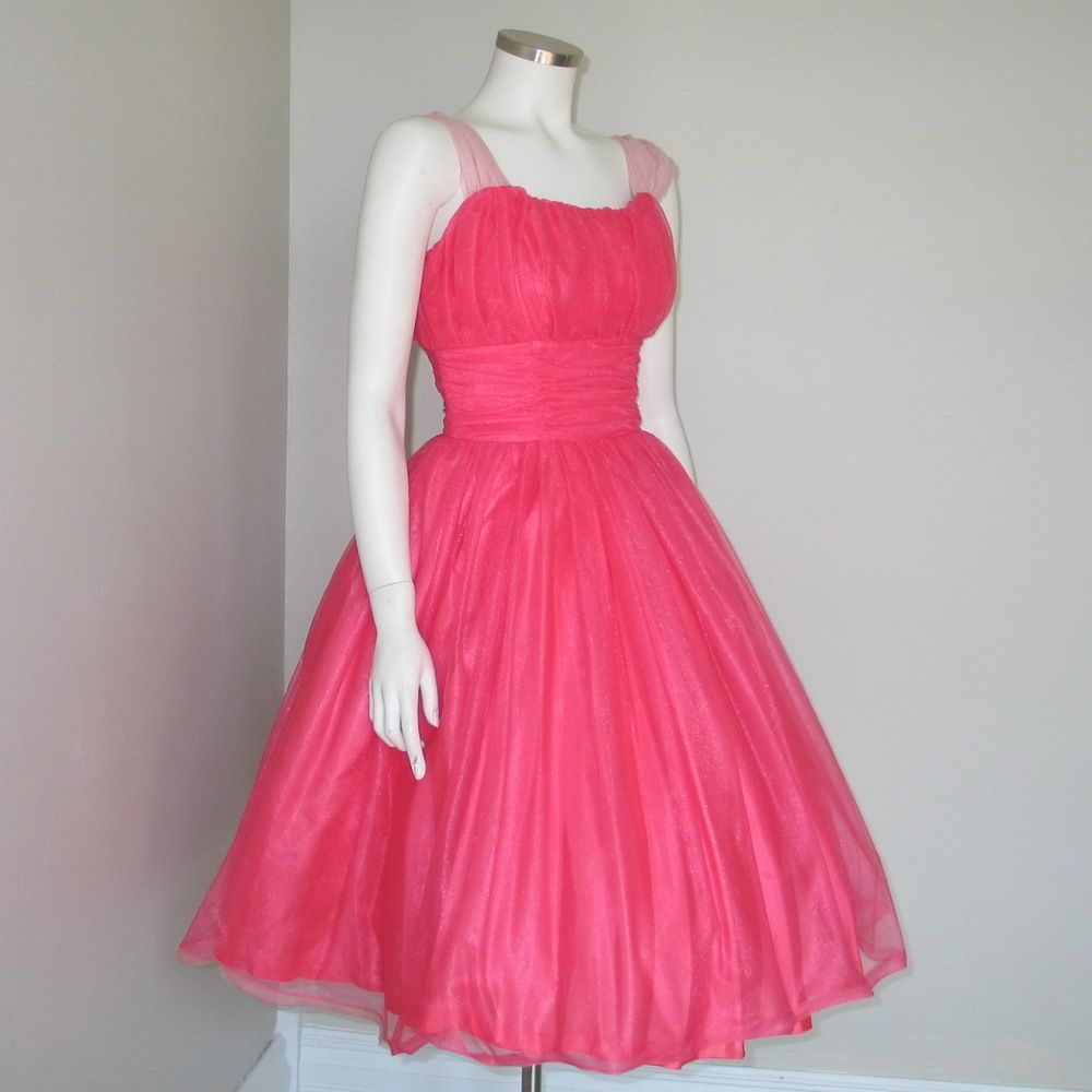 Vintage 1960s Shimmering Hot Pink Fit and Flare Cocktail Party Dream ...
