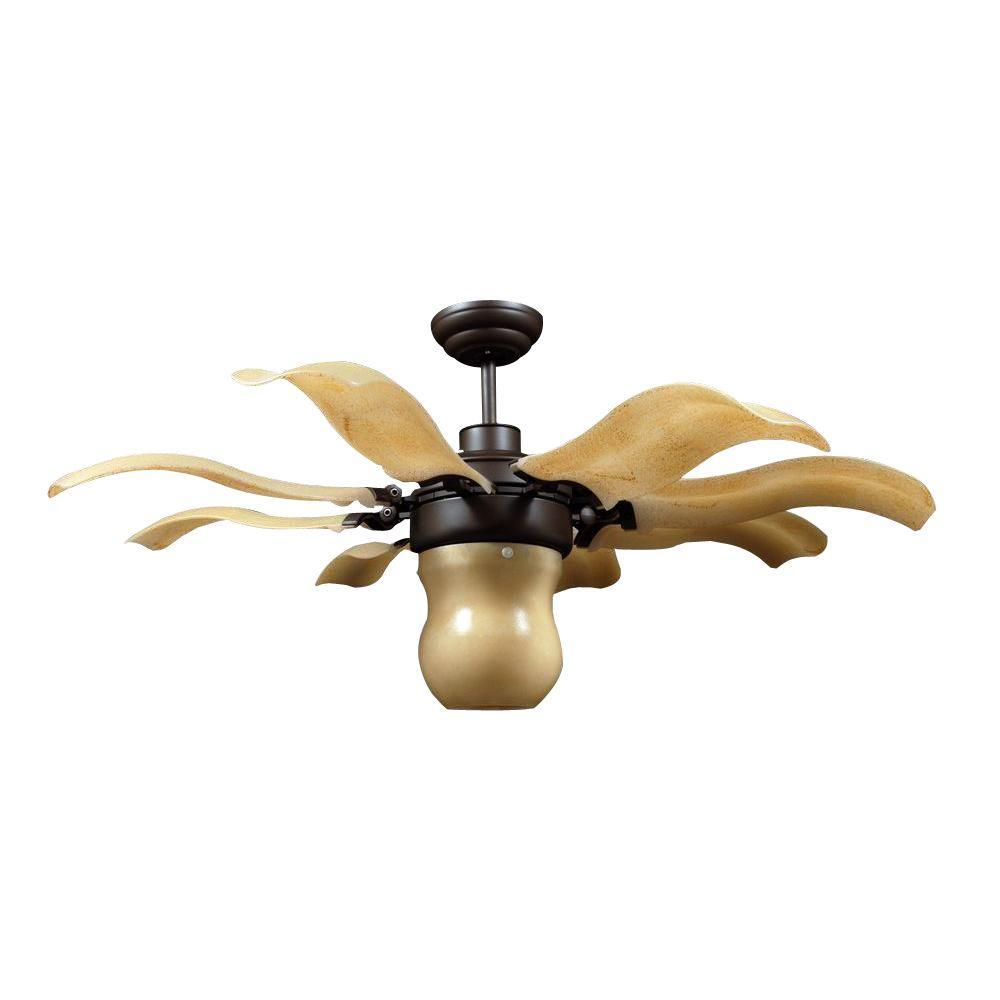 Vento fiore 42 in roman bronze retractable ceiling fan - Ceiling fan retractable blades ...