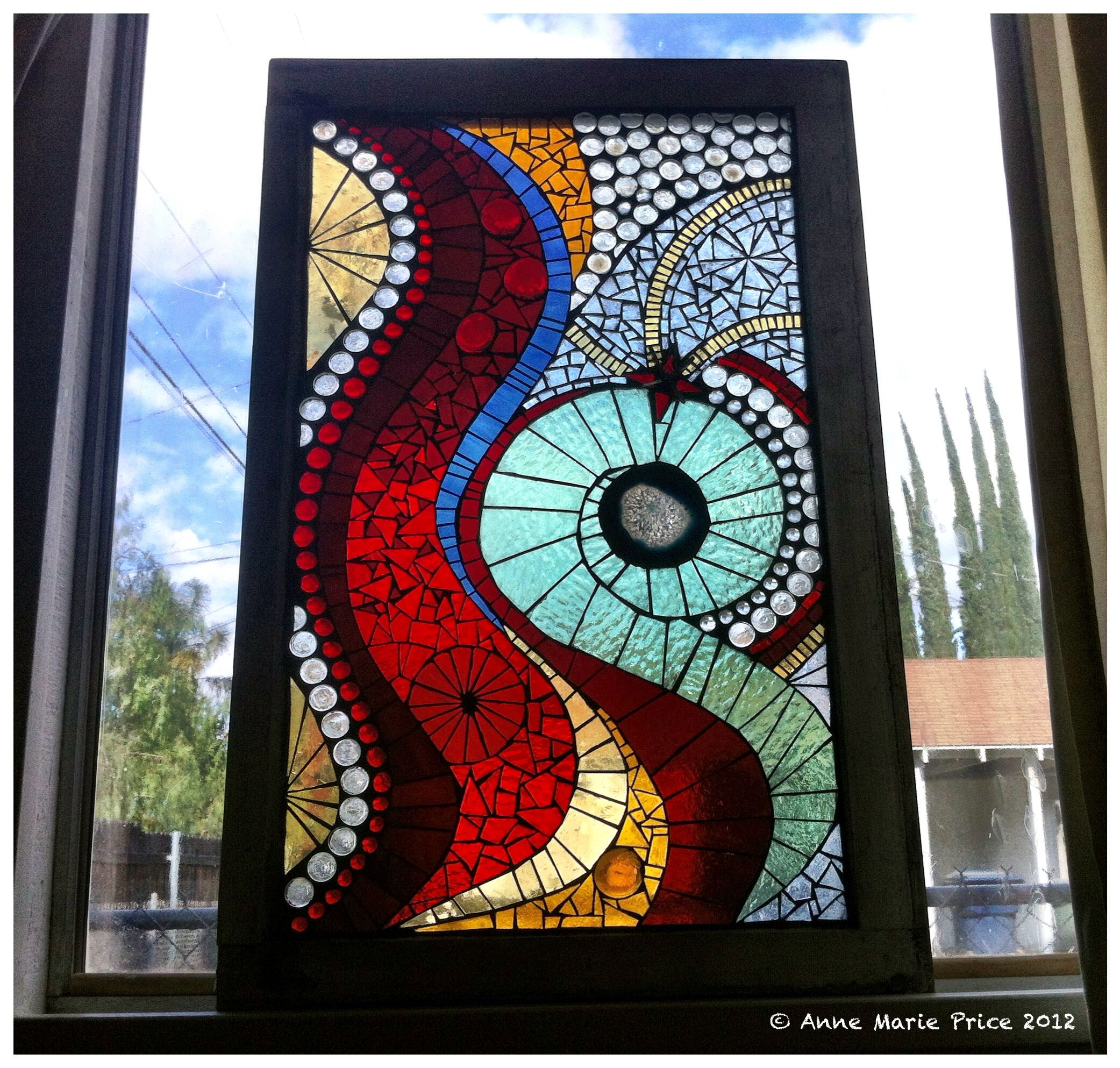 """Beloved Dancing"" by Anne Marie Price  People's Choice Winner of 2014 Delphi Art Glass Festiva #AMP #AnneMariePrice #red #mosaicart #mosaic #art #stainedglass #beautiful #stunning #swirls #agate #window www.ampriceart.com"