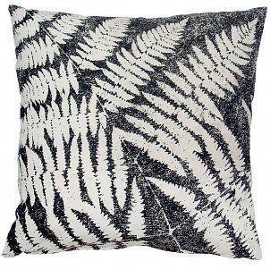 HK-living Sierkussen leafs zwart wit print katoen 45x45cm