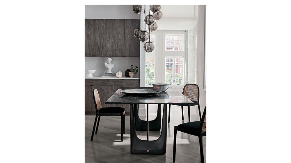 Rocco Rectangular Marble Dining Table Reviews Cb2 Dining Table Marble Marble Dining Furniture Dining Chairs