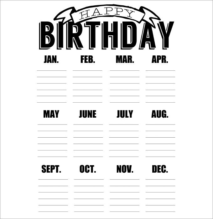 Birthday Calendar - Calendar Template Birthday calendar, Template - Perpetual Calendar Template