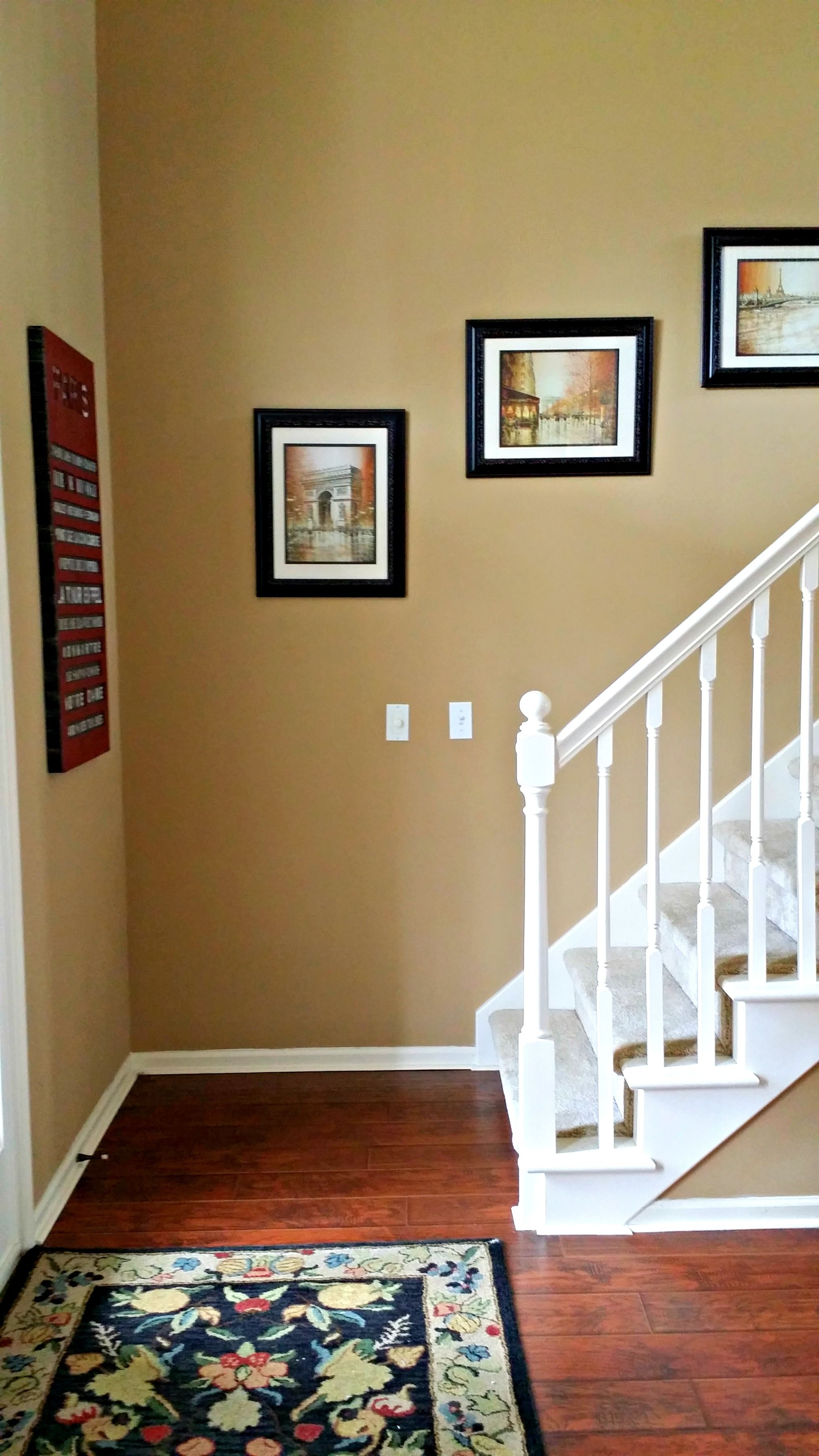 Benjamin Moore Spice Gold Walls Cherry Floors White Trim And Black Accents