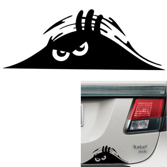Funny Car Trunk Creeper Peeking Out Vinyl Decal Custom Vinyl - Custom vinyl decals for cars