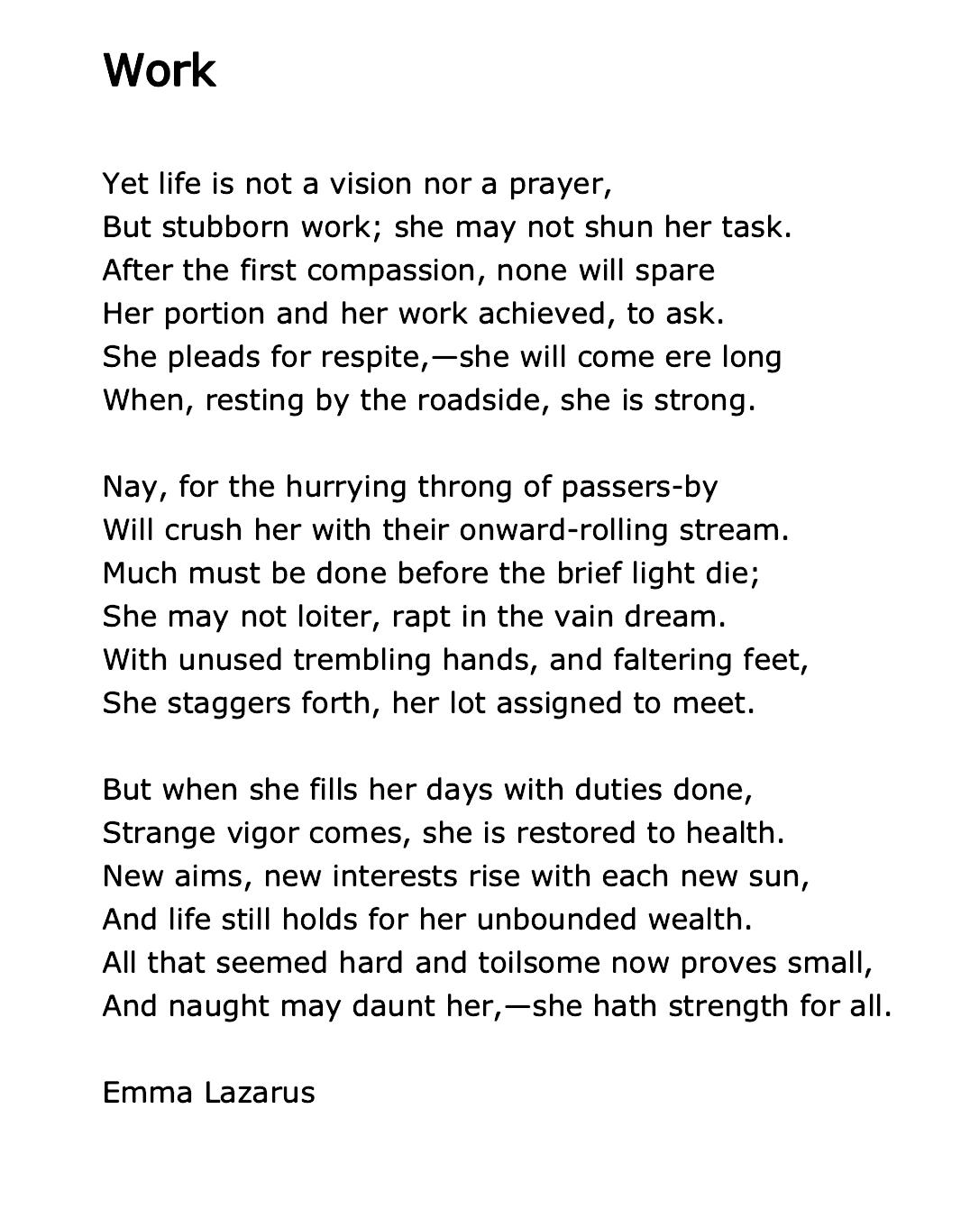 Emma Lazarus American Poets Poems Poetry