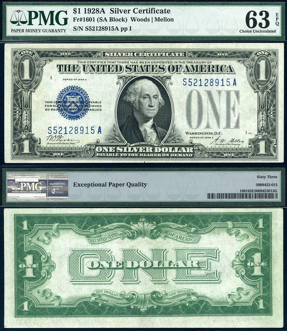 """1928-A $1 /""""Funny Back/"""" Silver Certificates Fr 1601 Random Block AU"""