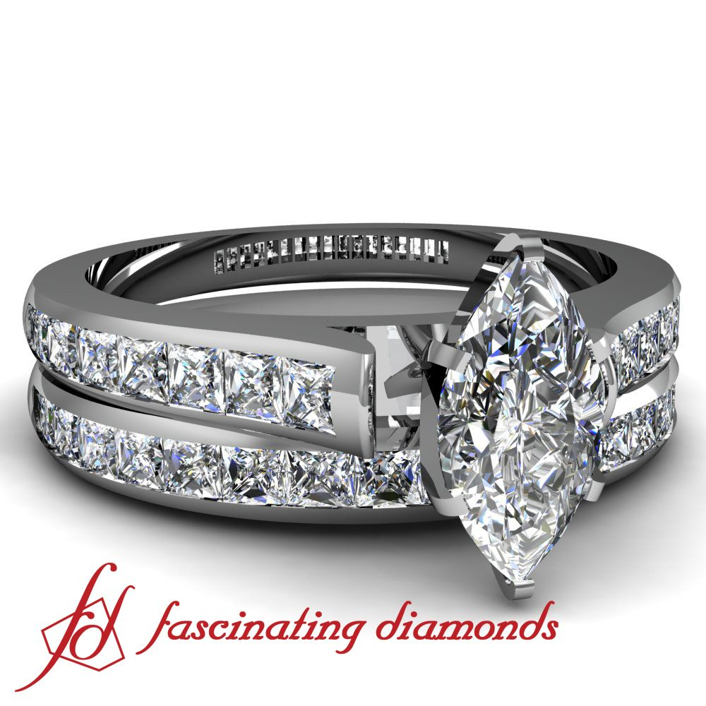 Cathedral Style Channel set Marquise shaped diamond
