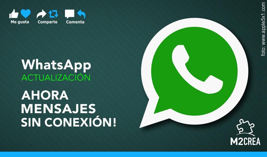 Agenda este dato y actualiza tu #app para enviar sin conexión. Comparte con amigos! #Wapp, #Noticias, #BuenJueves :. http://goo.gl/RifBlc