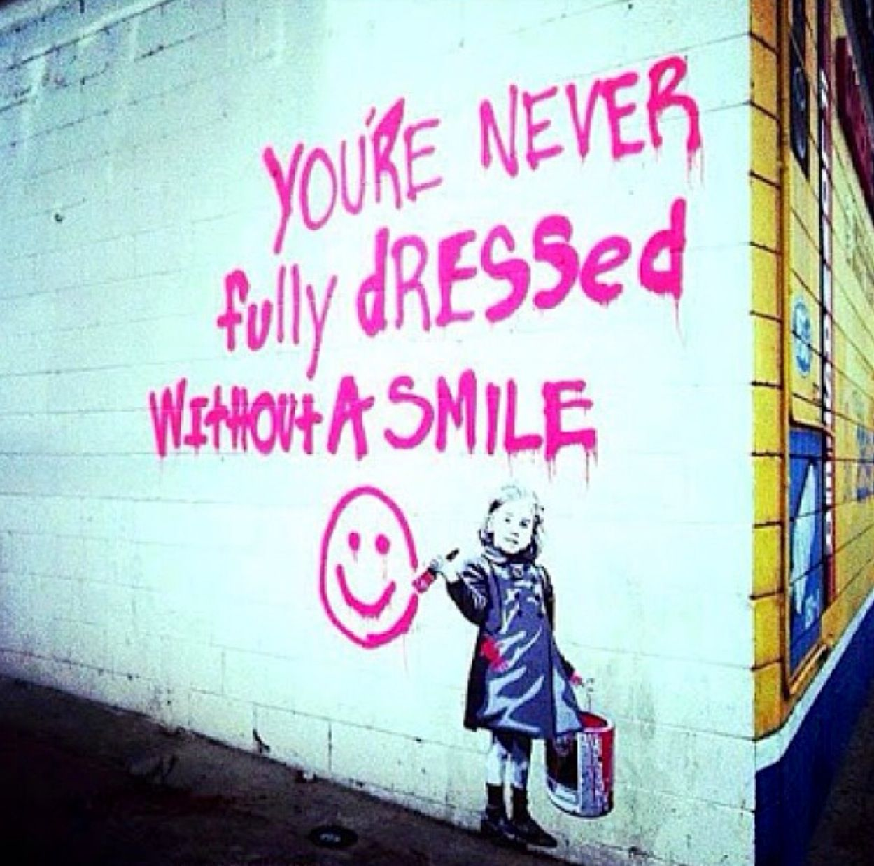 Graffiti Street Art Paint Spray Little Girl Child Pink Wall Drawing
