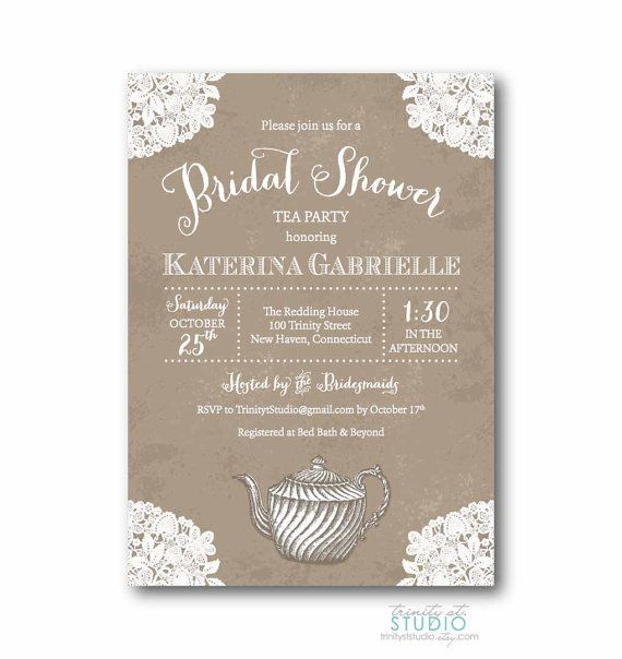 Vintage Lace Tea Party Bridal Shower Invitation - Shabby Chic - free engagement party invitation templates printable