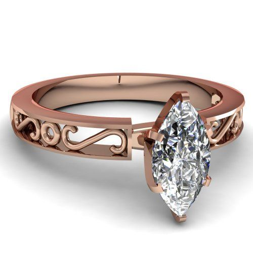 Antique Style 0.50 Ct Marquise Cut Diamond Classic Solitaire Engagement Ring GIA 14K Rose Gold