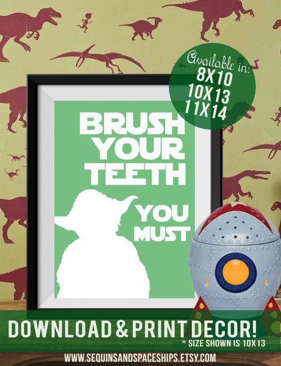 Star Wars Wall Art, Yoda Wall Art, Brush Your Teeth, Bathroom Art,  Boys Bedroom, Boy Gift, Printable