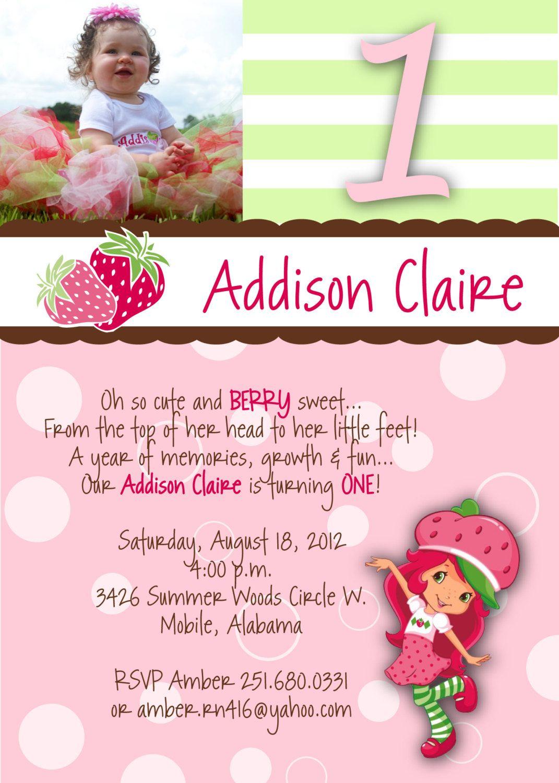 Strawberry Shortcake Birthday Party Invitation Digital File – Strawberry Shortcake Birthday Invitations