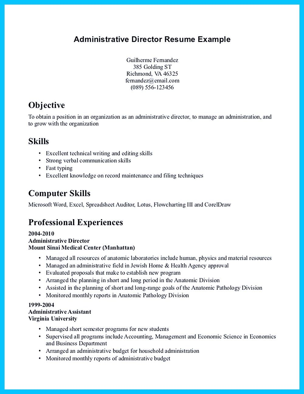 Administrative Assistant Resume Template. Medical Resume ...
