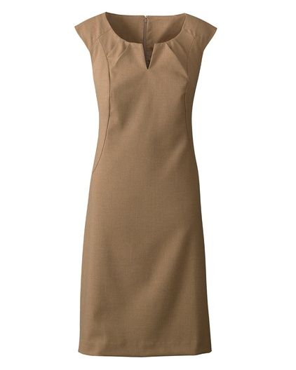 Sueded twill sheath dress  Was $99.95 - $109.95  |  Now $39.99  Read reviews (7)   |   Write a review  The lines may be crisp but the fabric is twill, soft as rose petals. Expertly styled with soft pleats at the notched neckline, and princess-seamed to shape the waist and release. Sleeveless; hidden back zip. Fully lined. Polyester, rayon, spandex; machine wash. Imported. $39.99