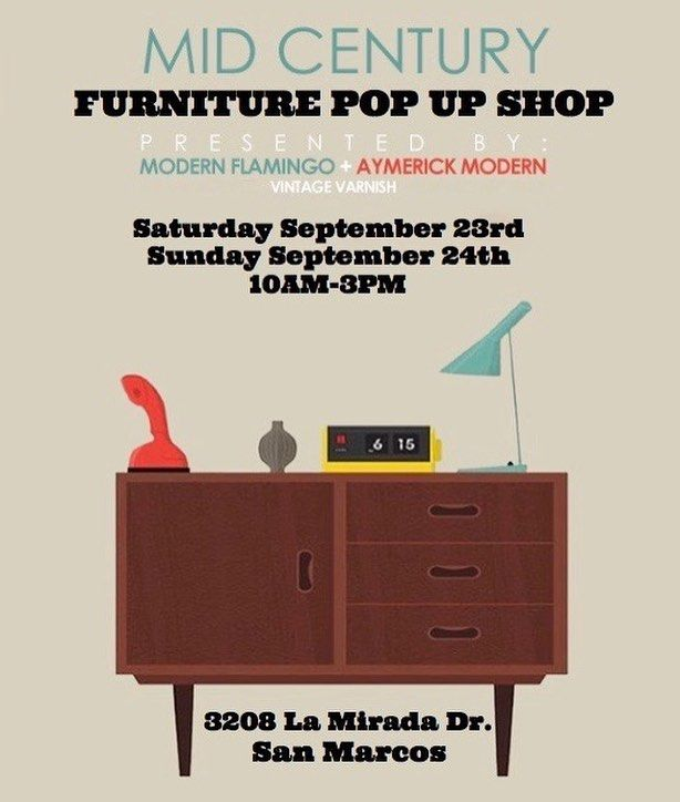 Mid Century Modern Furniture Pop Up Sale In North San Diego County, San  Marcos