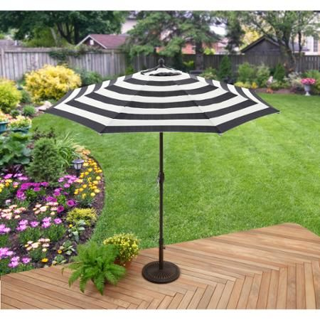 Better Homes & Gardens 9 Market Umbrella Cabana Stripe