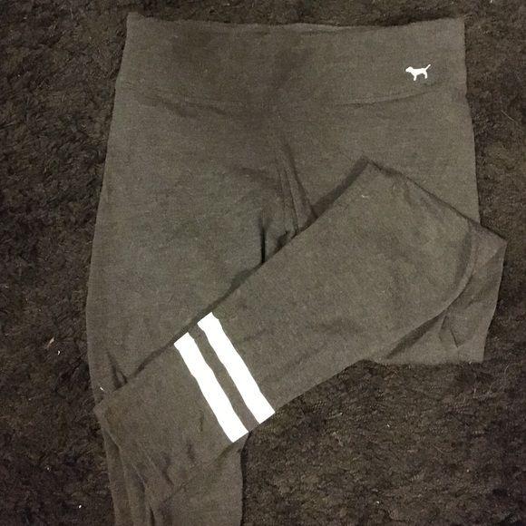 VS pink legging Dark charcoal VS pink leggings. Size medium, full length. PINK printed on right ankle. 52% cotton 35% polyester 13% elastane Victoria's Secret Pants Leggings