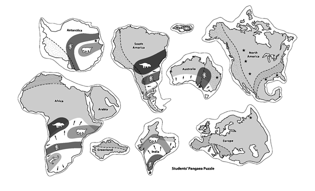 photograph regarding Pangea Puzzle Printable referred to as Pupils Pangaea Puzzle University - Geology World science