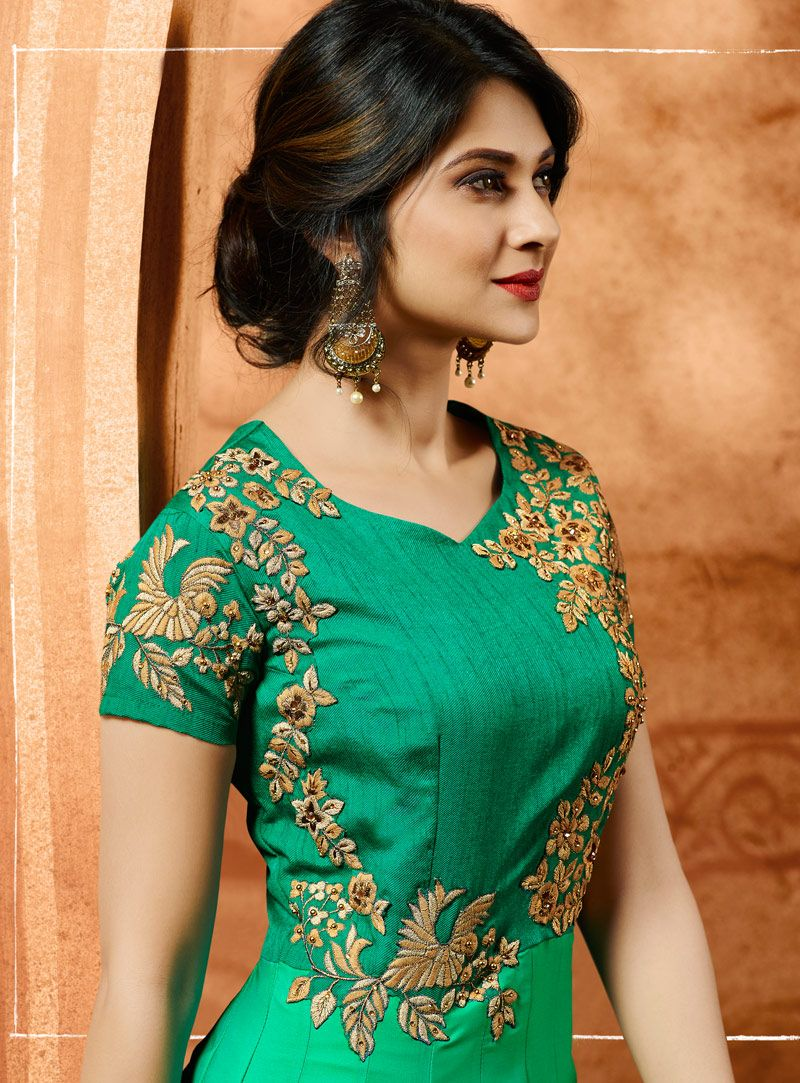b95d44e340 Buy Jennifer Winget Sea Green Silk Floor Length Anarkali Suit 105134 online  at lowest price from vast collection at m.indianclothstore.c.