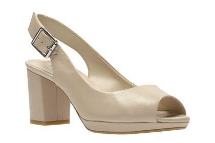 Clarks Kelda Spring Nude Leather Womens Smart Sandals