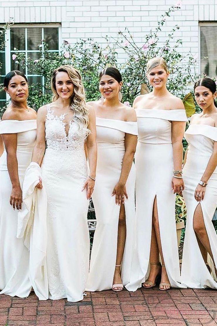 Side Split Off The Shoulder White Long Bridesmaid Dress White Bridesmaid Dresses Long Long Bridesmaid Dress Bridesmaid Dresses [ 1108 x 739 Pixel ]