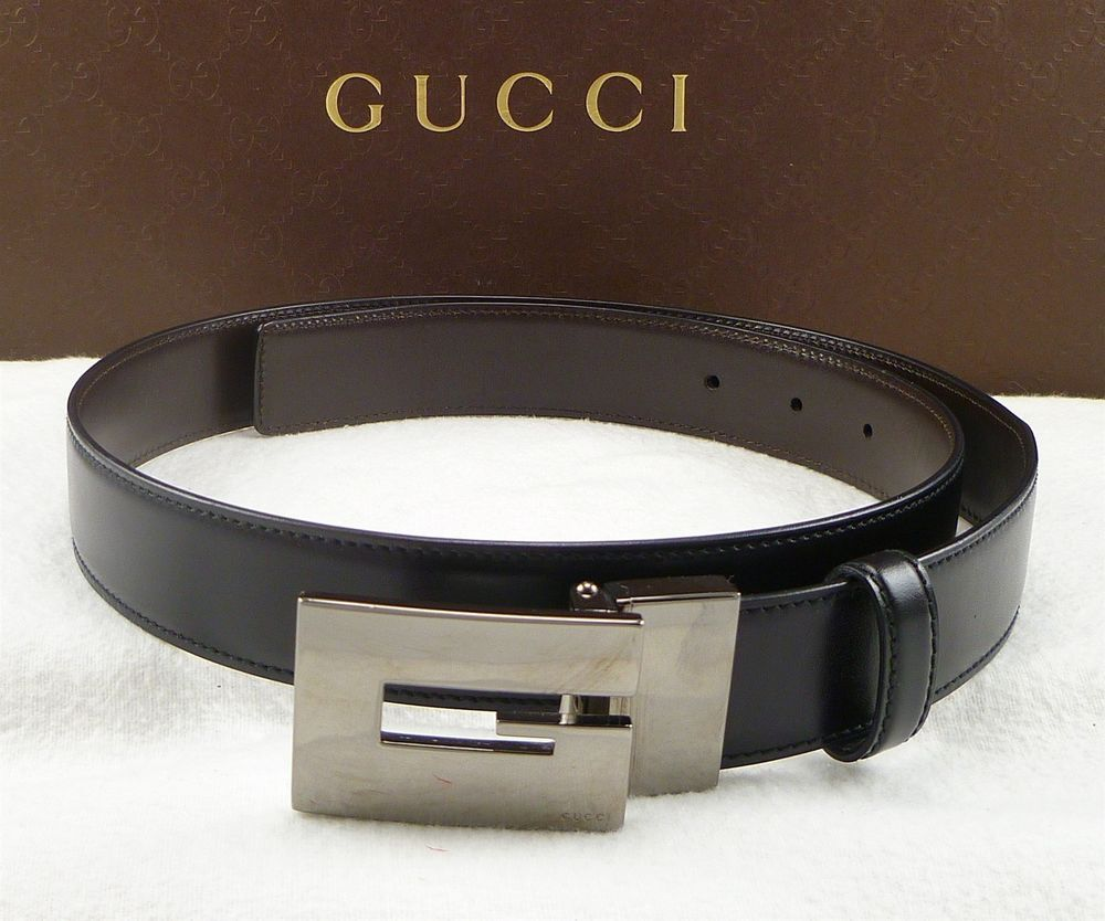 8acebd602b2 GUCCI sz 34 85 REVERSIBLE SQUARE G BUCKLE BELT 05893 MENS BLACK BROWN  290   Gucci  distinctivedeals
