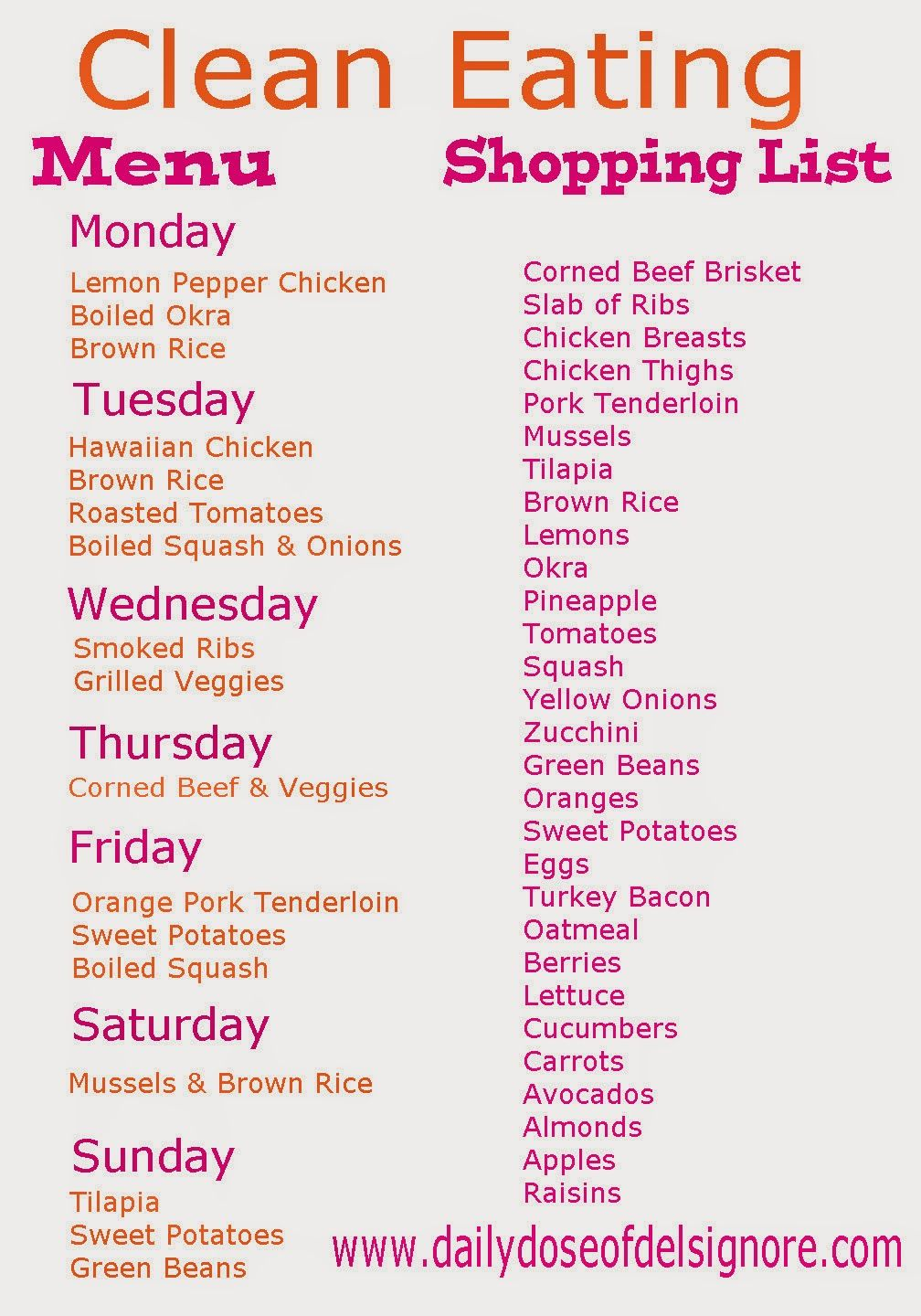 Eat Clean On A Budget Menu And Shopping List Delicious Clean Eating Healthy Eating Plate Clean Eating Menu