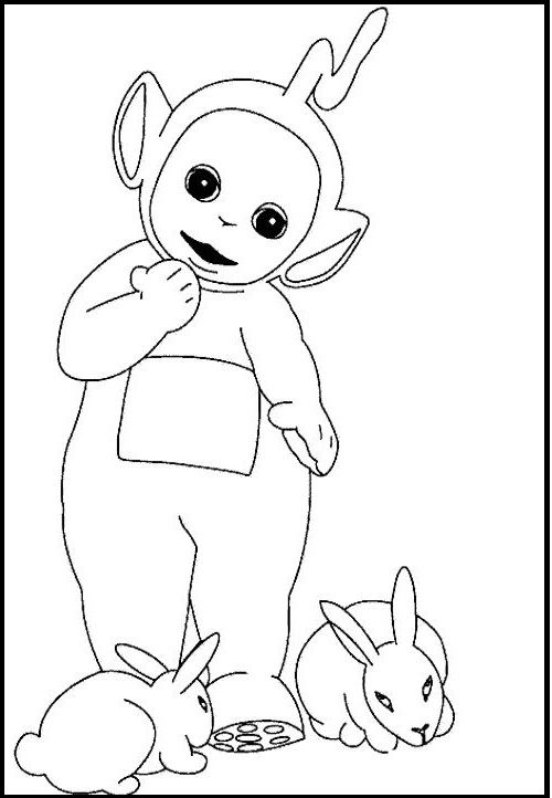 Teletubbies Laa Laa And Rabbits coloring picture for kids ...