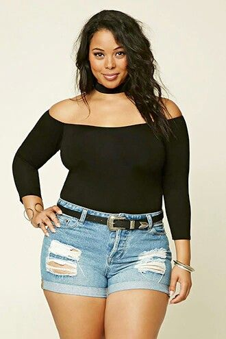 Distressed Jean Shorts & Black off the shoulder top. ..Curvy Girl Sexy