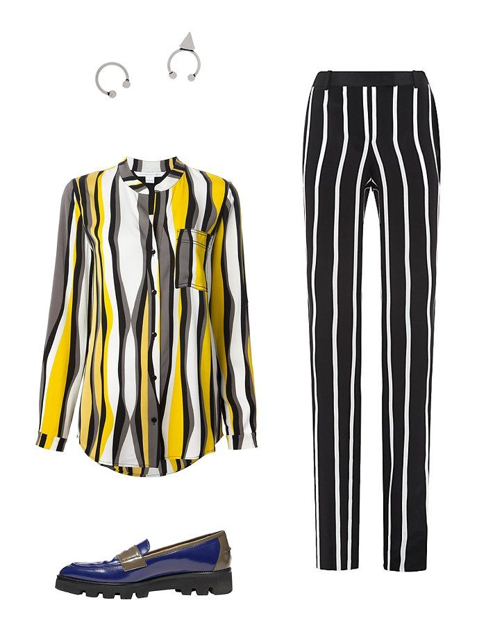 Isabel Marant silver-tone ear cuffs, $70net-a-porter.comEmilio Pucci vertical-striped silk trousers, $1,290harrods.comTommy Hilfiger Hilfiger Collection color-block loafer, $330tommy.comDiane von Furstenberg Gilmore blouse, $327farfetch.com