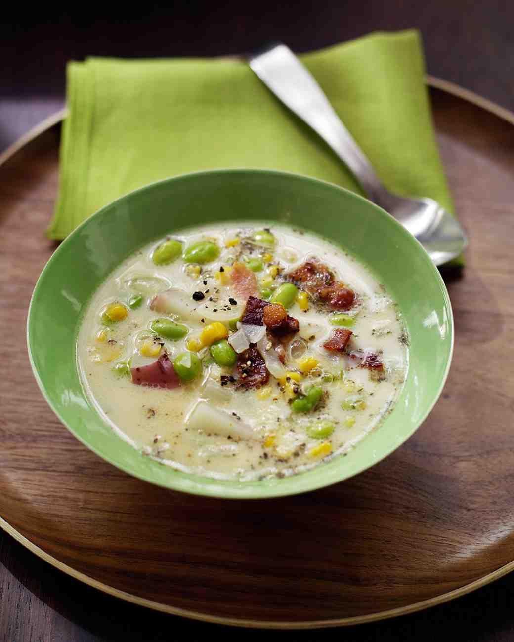 Edamame Corn Chowder Recipe Quick Soup Recipes Chowder Corn