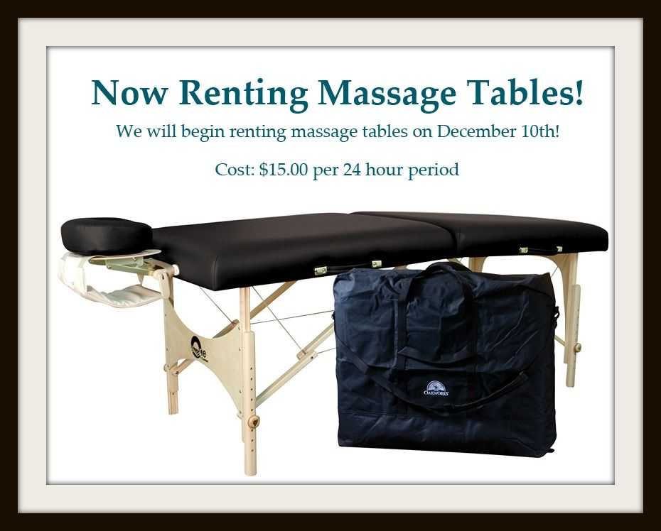 Beginning on december 10th we will be renting massage