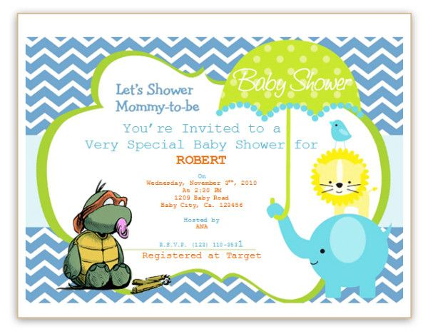 Baby Shower Invitations, Turtle Cartoon Yellow Lion Blue Elelphant - invitation templates for microsoft word
