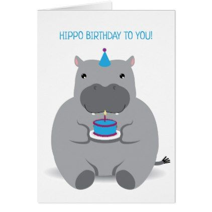 Cute hippo happy birthday greeting card happy birthday greeting card cute hippo happy birthday greeting card bookmarktalkfo Image collections